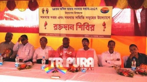 Akhil Bharat Samabay held a blood donation camp at Agartala. TIWN Pic Nov 13
