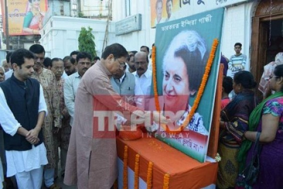 Congress observes Former PM Indira Gandhis birth anniversary at Agartala. TIWN Pic Nov 19