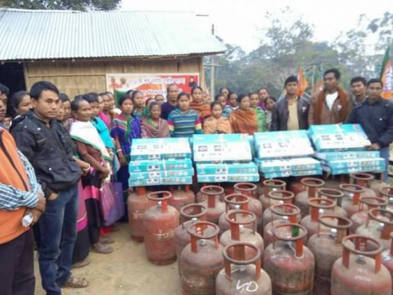 Sabroom: BJP distributed free LPG connection to remote tribal beneficiaries